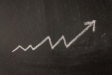The arrow is a graph of the increase in profit by chalk on the board.
