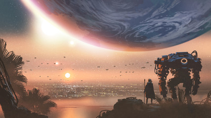 Aluminium Prints Grandfailure journey concept showing a man with robot looking at a new colony in the alien planet, digital art style, illustration painting