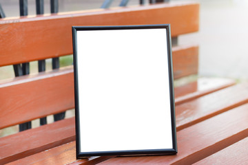 Mock Up portrait frame. Blurred background bokeh. Template for your design projects. City line.