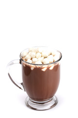 Foto op Canvas Chocolade Mug of Hot Chocolate Isolated on a White Background