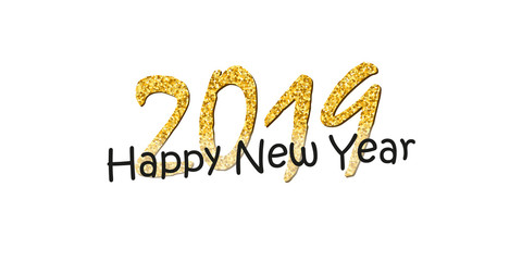 Happy New Year text. Bright gold number 2019 with sparkle isolated on white background. Holiday golden glitter design for Christmas celebrate, banner, decoration, greeting card. Vector illustration