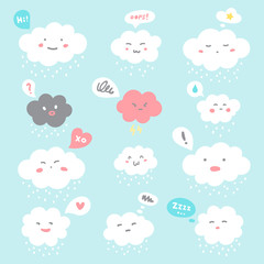 Flat style illustration. Cute fluffy smiley clouds with cartoon doodle emoji faces and speech bubbles. Emoticons with facial expressions, emotions - anger, love, surprise, shame, joy, distrust, sleepy