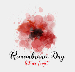 Remembrance day background with watercolor painted poppy.