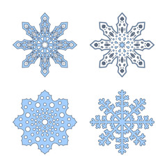 Snowflakes signs set. Blue Snowflake icons isolated on white background. Snow flake silhouettes. Symbol of snow, holiday, cold weather, frost. Winter design element. Vector illustration
