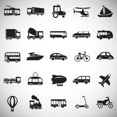 Transportation and vehicles set on white background icons
