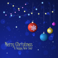 Christmas vector background. Holiday garlands, balls, decorations, snowflakes, lights.
