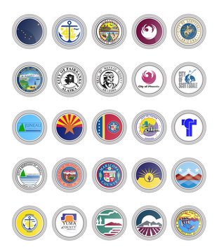 Set of vector icons. Flags of Alaska and Arizona states, USA. 3D illustration.