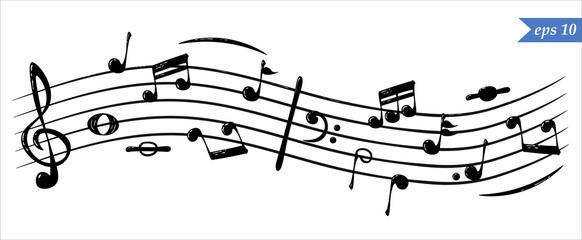 Realistic flowing musical notes, vector