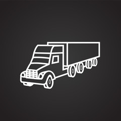 Cargo truck thin line on black background icon