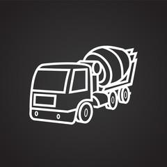 Concrete mixer thin line on black background icon