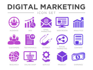 Digital Marketing Icon Set. SEO, Email Marketing, Web Design, Analytics, Audience, Customers, Testimonials, Attract, Social Marketing, etc Icons.