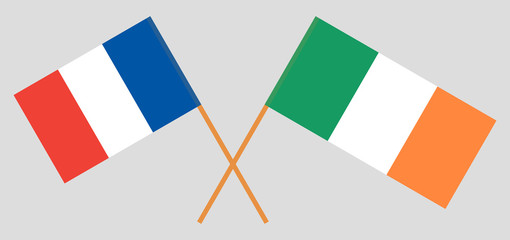France and Ireland. The French and Irish flags. Official colors. Correct proportion. Vector