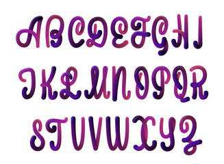 Font set with letters. Glossy alphabet. 3D render of bubble font with glint and shadow. Typography vector illustration.