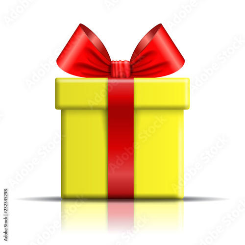 gift box icon surprise present template red ribbon bow isolated