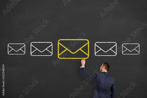 Email marketing newsletter and bulk mail concepts on blackboard