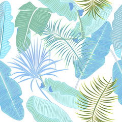 Tropical jungle palm leaves seamless pattern, vector floral background