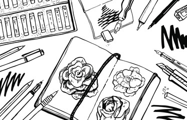 Sketch vector artist materials - top view. Black and white stylized illustration with drawing tools. Notepads, pastel, pens isolated on white background