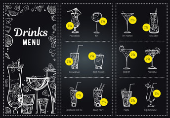 Cocktail menu design template and drink list. Vector outline hand drawn illustration with blackboard background