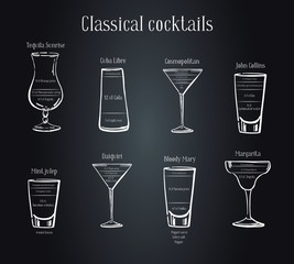 Classic cocktails recipe. Scheme of preparing with ingredients. Vector sketch outline hand drawn illustration on blackboard background