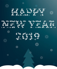 Happy New Year 2019. Design for background, greeting card, postcard, flyer, poster. Vector illustration