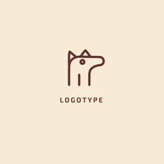 Dog silhouette logo. Vector abstract minimalistic illustration veterinary. Puppy icon. Pet, pet shop, zoo, clinic vector flat style logotype modern.