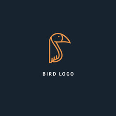 Bird silhouette logo. Vector abstract minimalistic illustration flying fowl. Pigeon icon. Zoo, pet shop, farm, bird feather, wild nature vector flat style logotype modern.