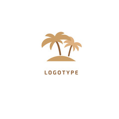Palm tree icon. Vector flat style illustration resort, hotel logo template. Logo concept of island, loukost, tour, trip, booking hotel, travel application, tourism, summer.