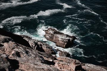 Sea splashing near cliffs
