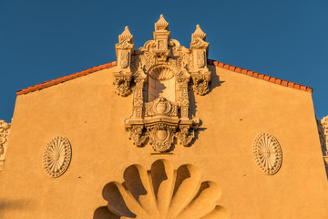 Ornate facade of an historic Spanish renaissance style building in Santa Fe, New Mexico