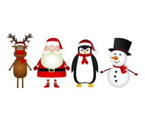 Santa claus with reindeer snowman and funny penguin