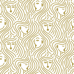 Abstract pattern of heads with hair