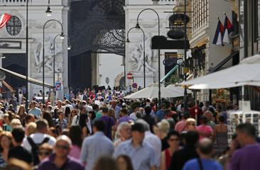 Crowded street of Vienna