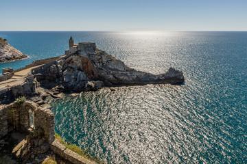Beautiful view of the Church of San Pietro overlooking the sea of Portovenere, Liguria, Italy