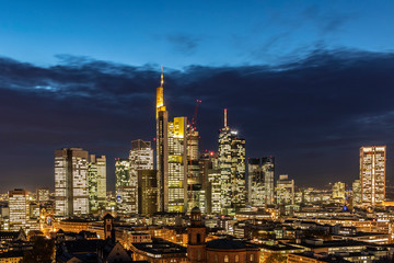 scenic view to frankfurt skyline with skyscraper