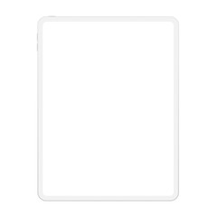 High quality realistic new version of soft clean white tablet computer with blank white screen. Realistic vector mockup tablet pad for visual ui app demonstration.