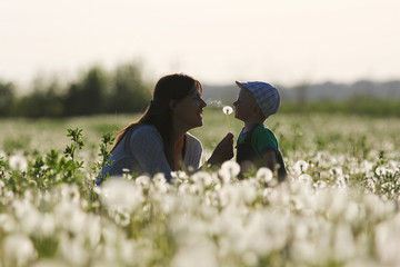 Young mother and little kid having fun in the dandelions
