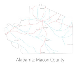 Detailed map of Macon county in Alabama, USA