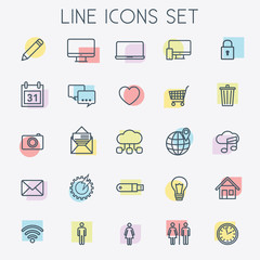 Colorful Line Icons Set - vector