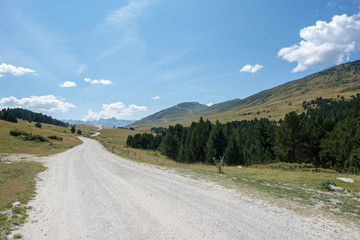 Road to Montgarri in the mountains of Aran Valley in summer