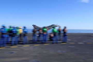 """A French fighter jet Rafale takes off on the aircraft carrier """"Charles de Gaulle"""", after the completion of its 18 month-long renovation in Toulon"""