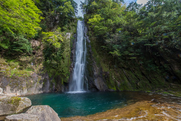 Waterfall deep inside forest