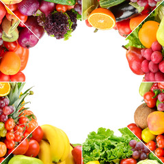 Wall Mural - Square frame ripe fruits and vegetables separated lines isolated on white