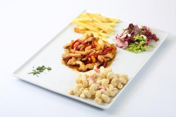 chicken / pasta / salad