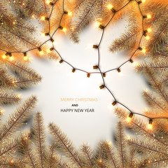 Merry Christmas and Happy New Year card with fir branches and decorative lanterns.
