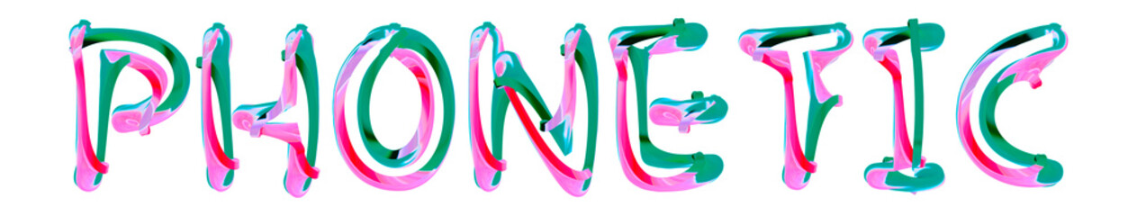 Phonetic - colorful text written on white background