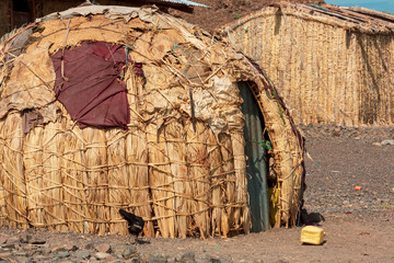 fishing village neaby Lake Turkana, kenya