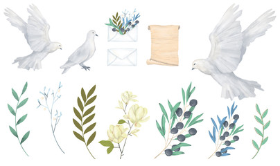 Pigeon and olive clip art digital drawing watercolor bird fly peace dove for wedding celebration illustration similar on white background Wall mural