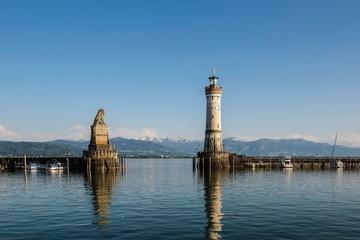 Harbor with lighthouse, Lindau, Lake Constance, Bavaria, Germany, Europe