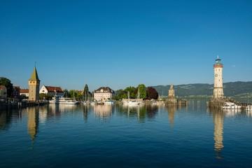 Harbor with Mangturm tower and lighthouse, Lindau, Lake Constance, Bavaria, Germany, Europe