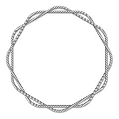 Gray white rope woven circle vector border, circle vector frame, isolated on white background
